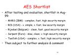 aes shortlist