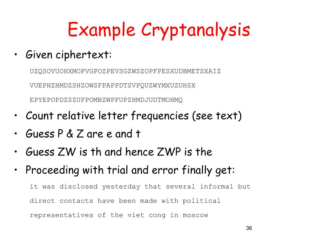 Example Cryptanalysis