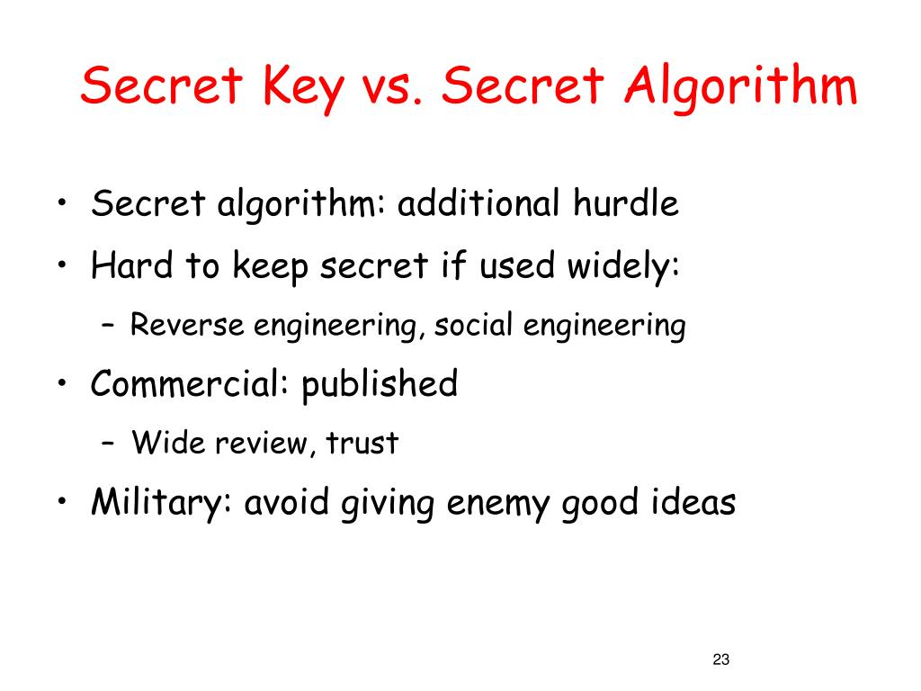 Secret Key vs. Secret Algorithm