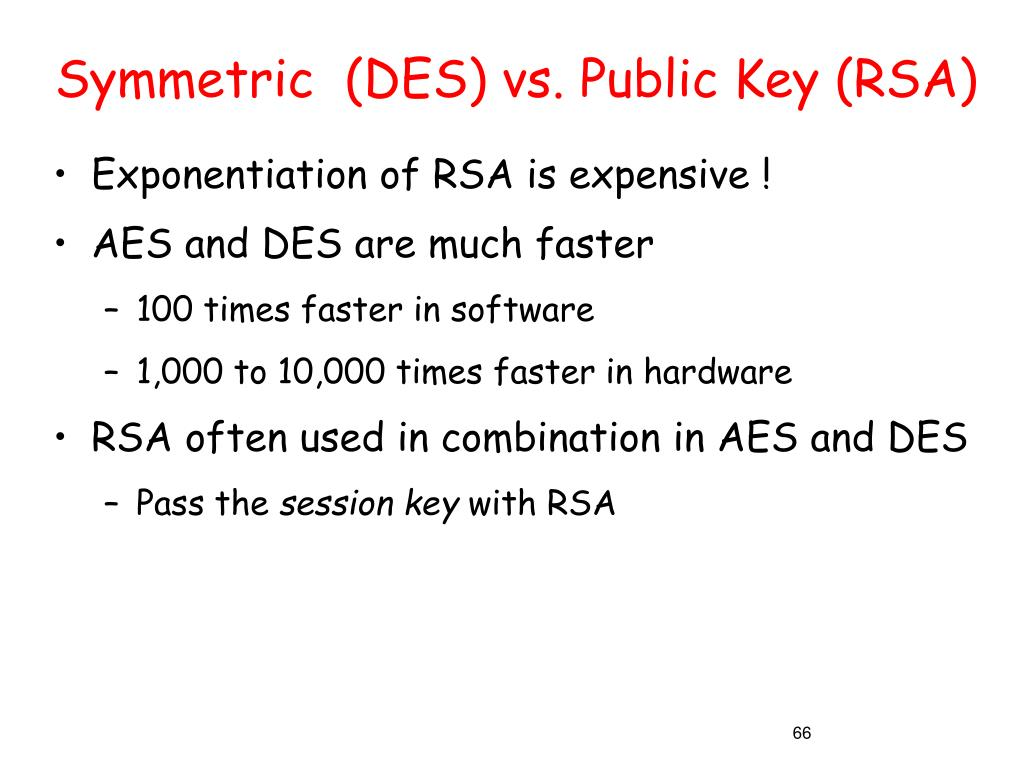 Symmetric  (DES) vs. Public Key (RSA)