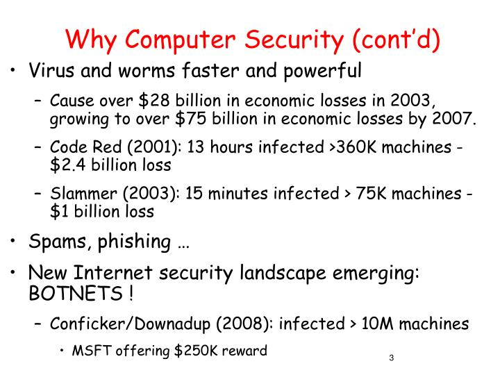 Why computer security cont d3