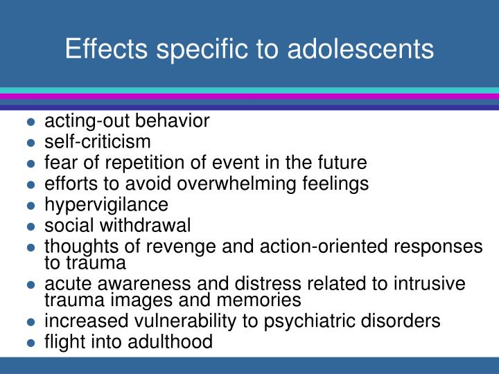 Effects specific to adolescents