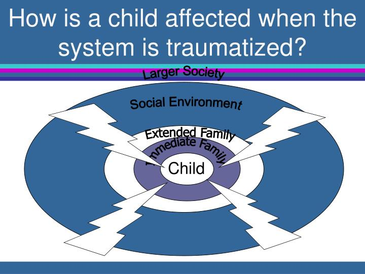 How is a child affected when the system is traumatized?