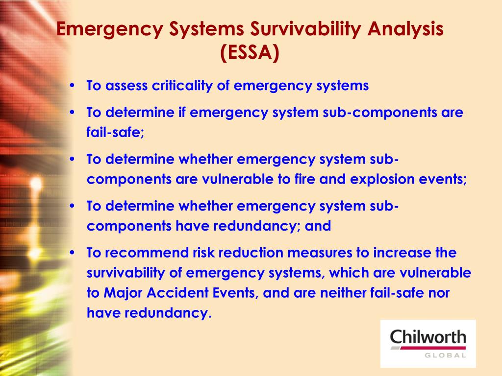 Emergency Systems Survivability Analysis