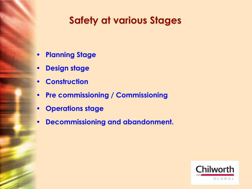 Safety at various Stages