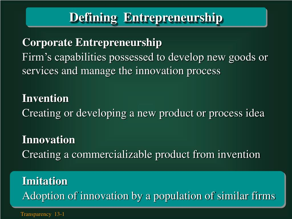 Defining  Entrepreneurship