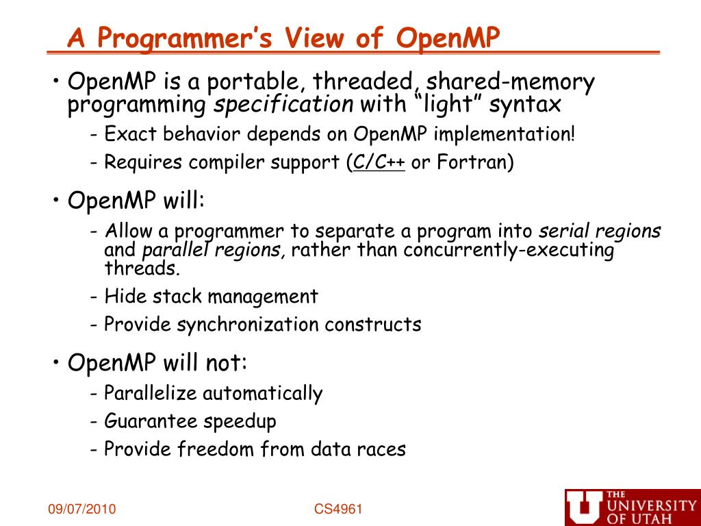 A Programmer's View of OpenMP