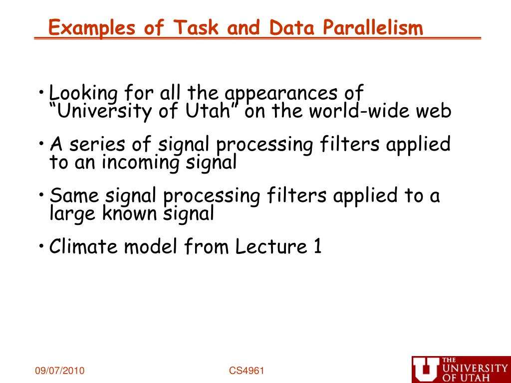 Examples of Task and Data Parallelism
