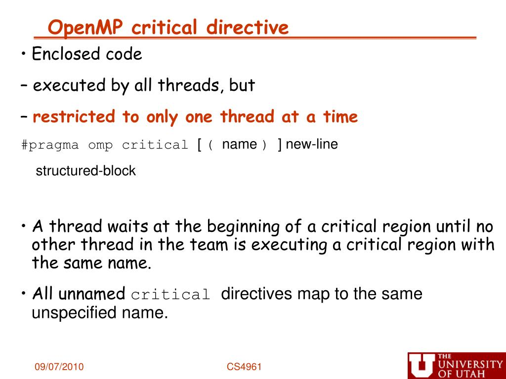 OpenMP critical directive