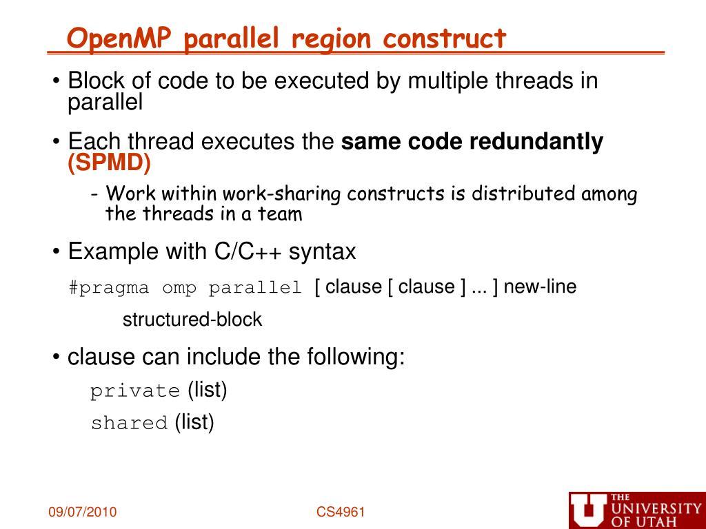 OpenMP parallel region construct