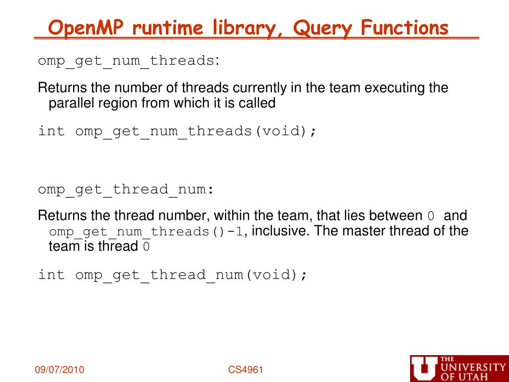 OpenMP runtime library, Query Functions