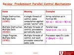 review predominant parallel control mechanisms