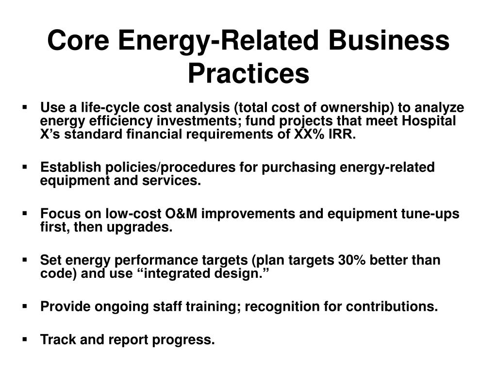 Core Energy-Related Business Practices