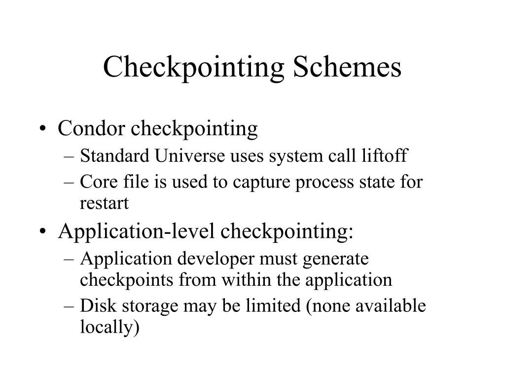 Checkpointing Schemes