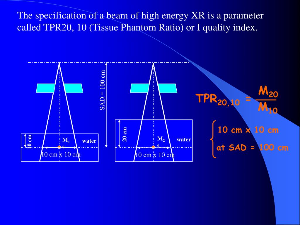 The specification of a beam of high energy XR is a parameter called TPR20, 10 (Tissue Phantom Ratio) or I quality index.