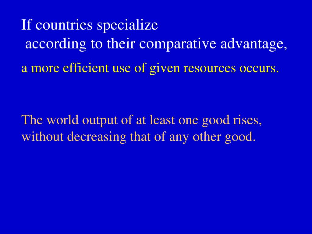 If countries specialize