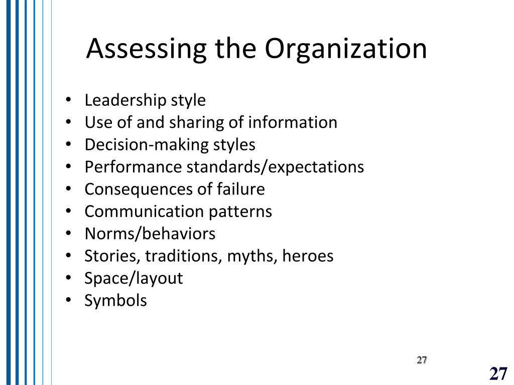 Assessing the Organization