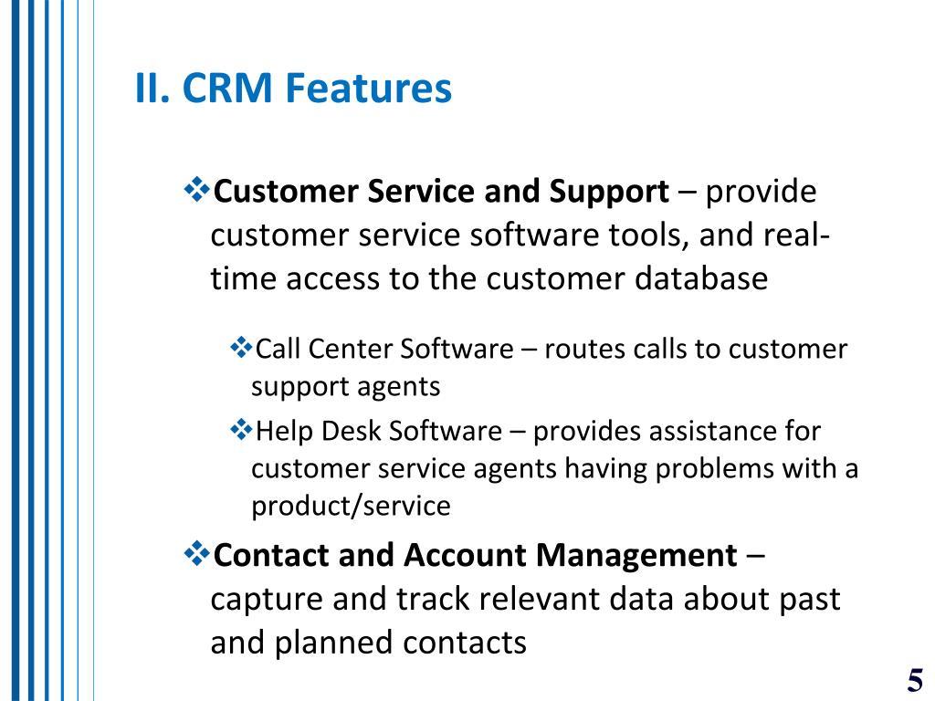 II. CRM Features