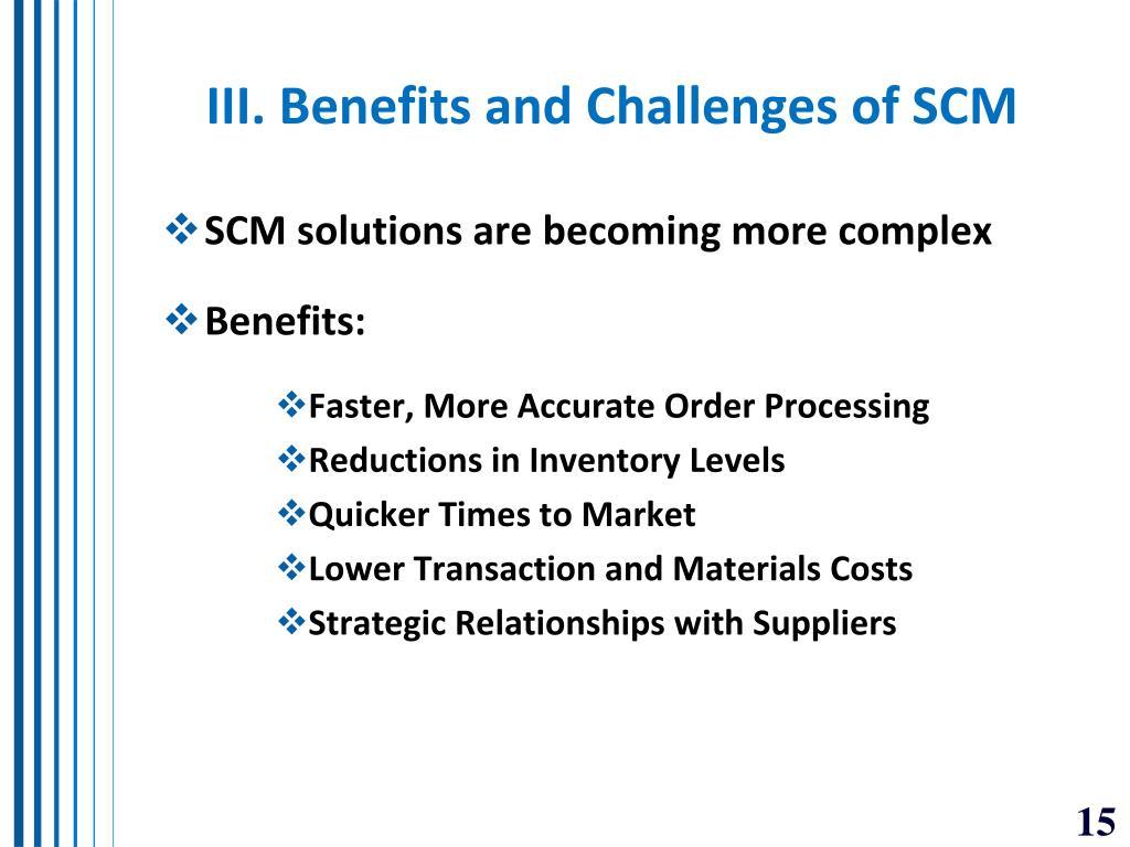 III. Benefits and Challenges of SCM