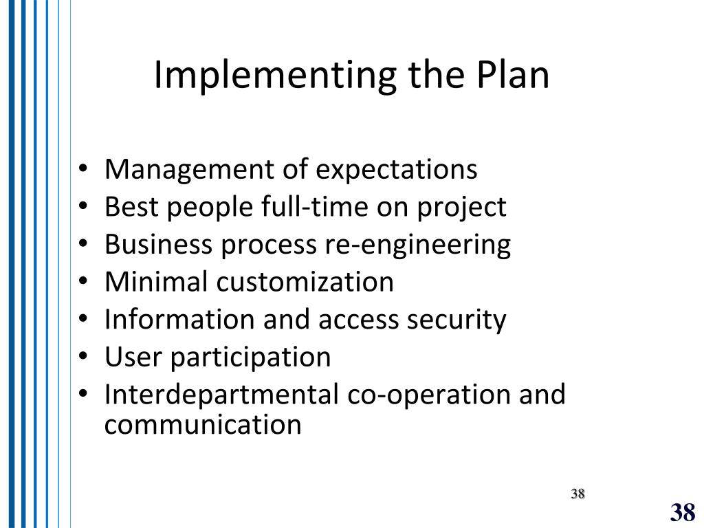 Implementing the Plan