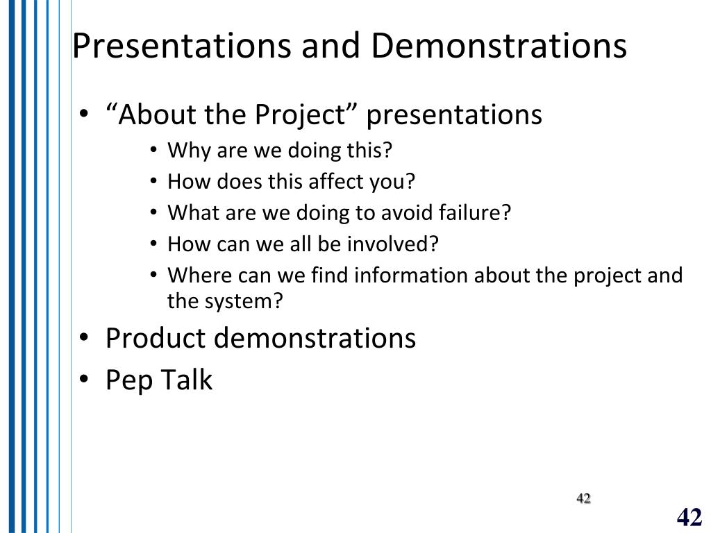 Presentations and Demonstrations