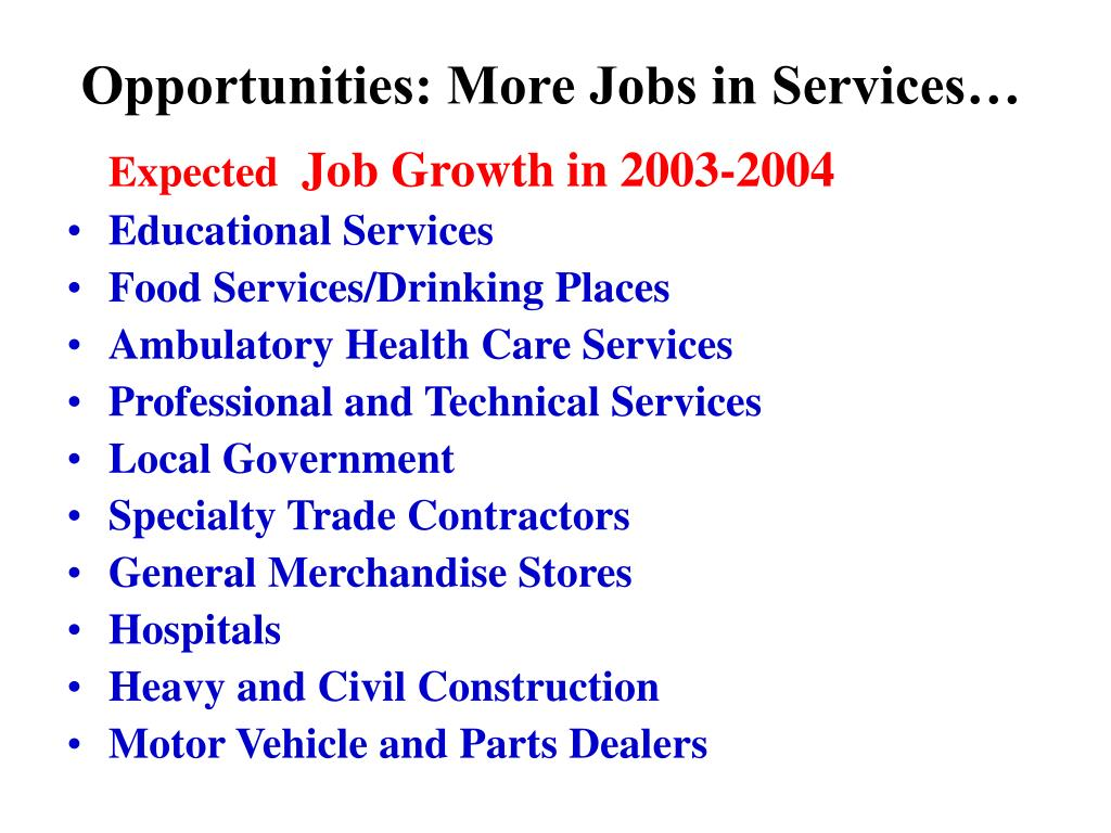 Opportunities: More Jobs in Services…