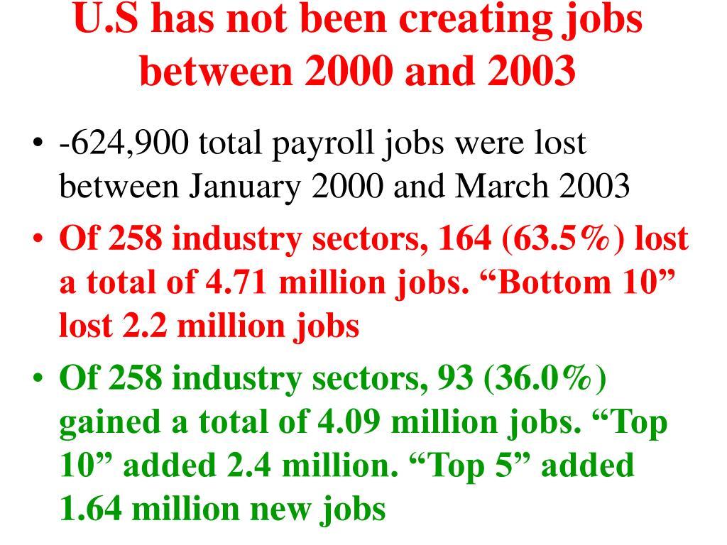 U.S has not been creating jobs between 2000 and 2003