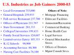 u s industries as job gainers 2000 03