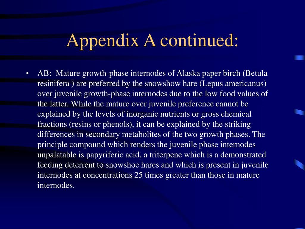 Appendix A continued: