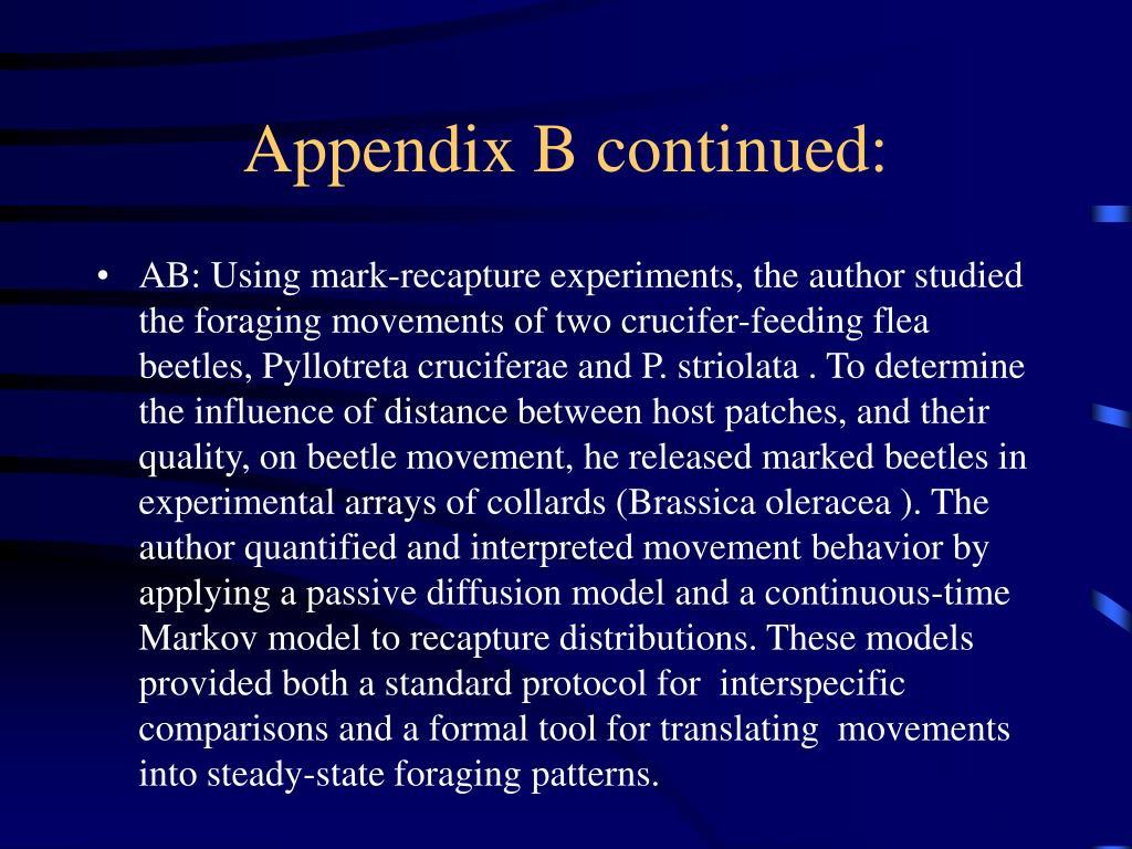 Appendix B continued: