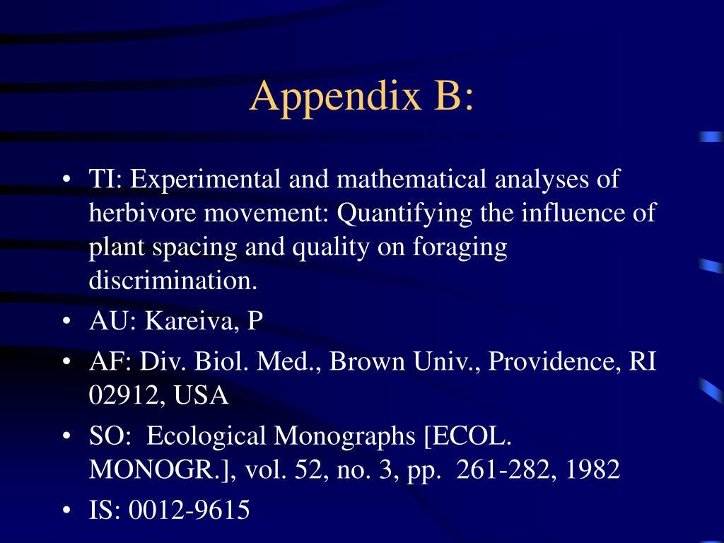Appendix B: