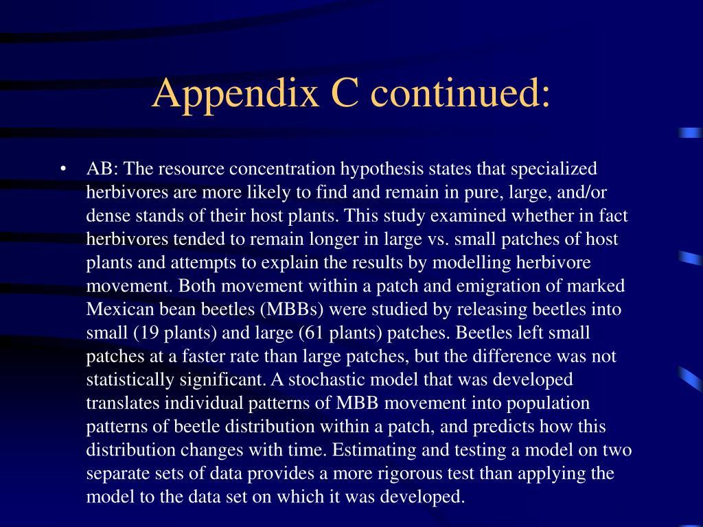 Appendix C continued: