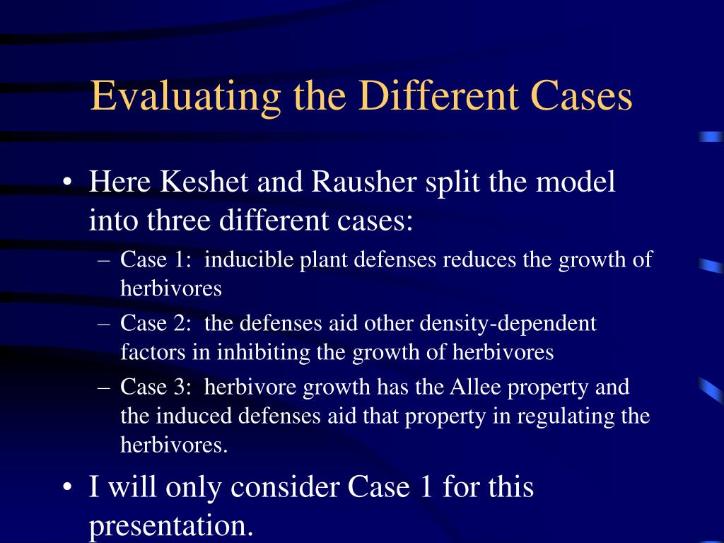 Evaluating the Different Cases