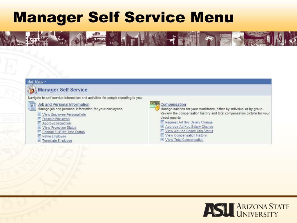 Manager Self Service Menu