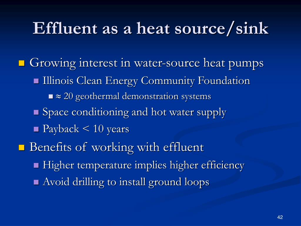 Effluent as a heat source/sink