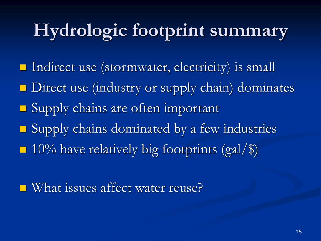 Hydrologic footprint summary