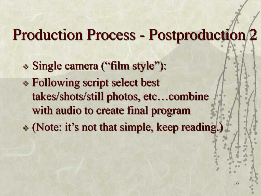 Production Process - Postproduction 2