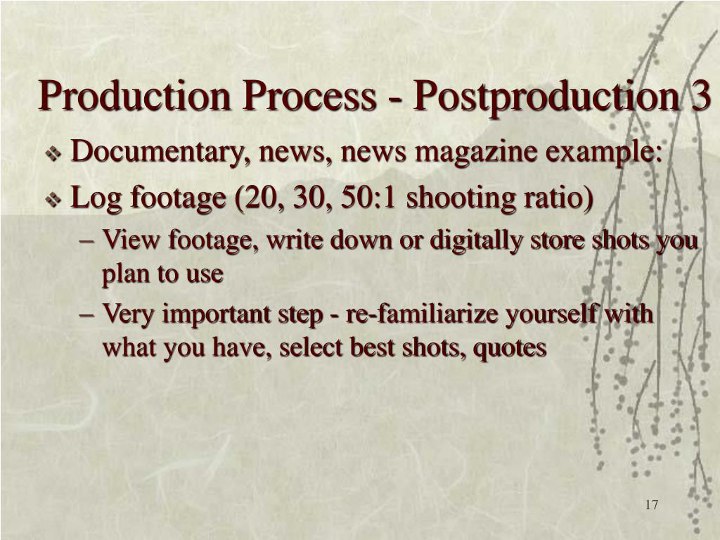 Production Process - Postproduction 3