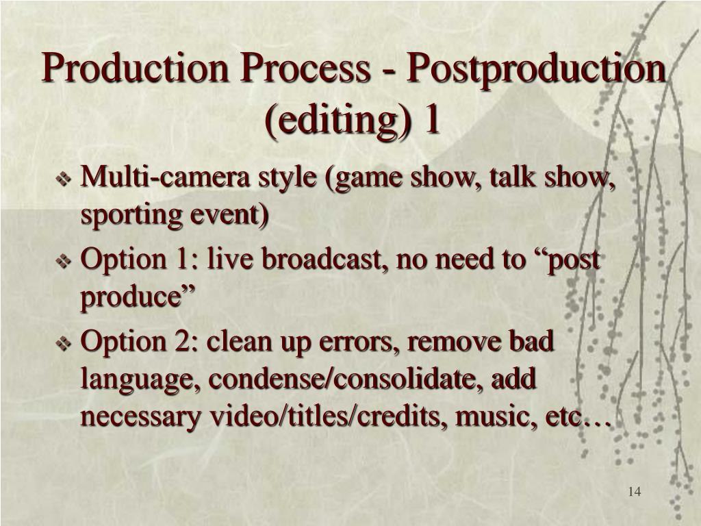 Production Process - Postproduction (editing) 1