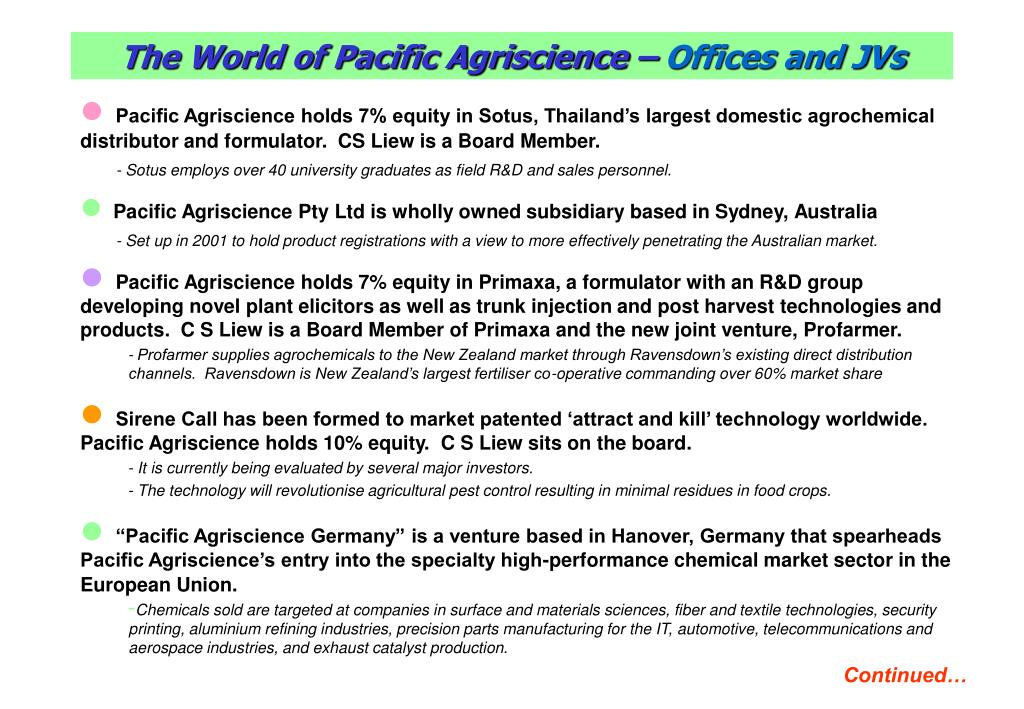 The World of Pacific Agriscience –