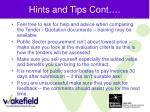 hints and tips cont