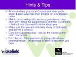 hints tips