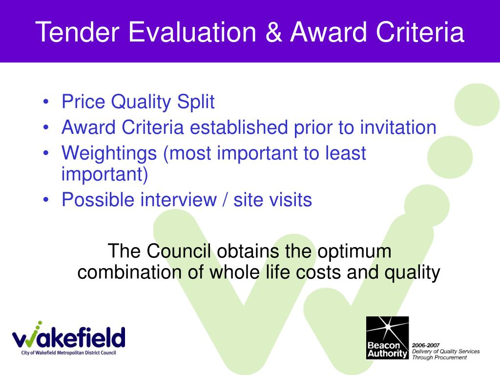 Tender Evaluation & Award Criteria