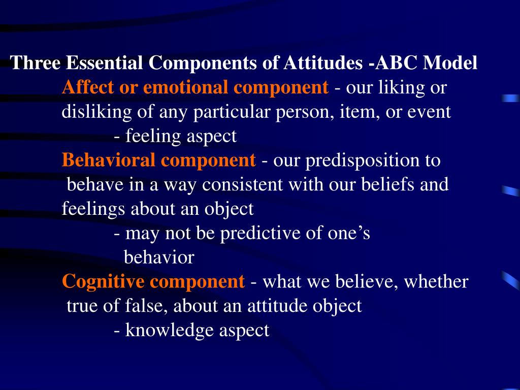 Three Essential Components of Attitudes -ABC Model