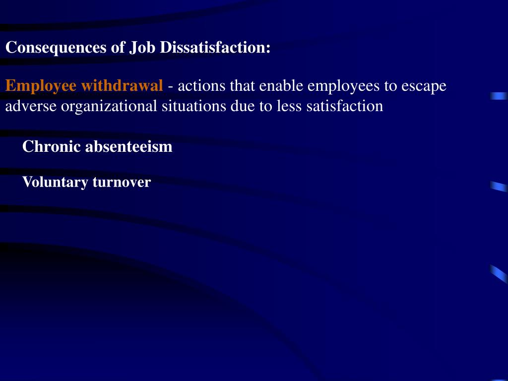 Consequences of Job Dissatisfaction: