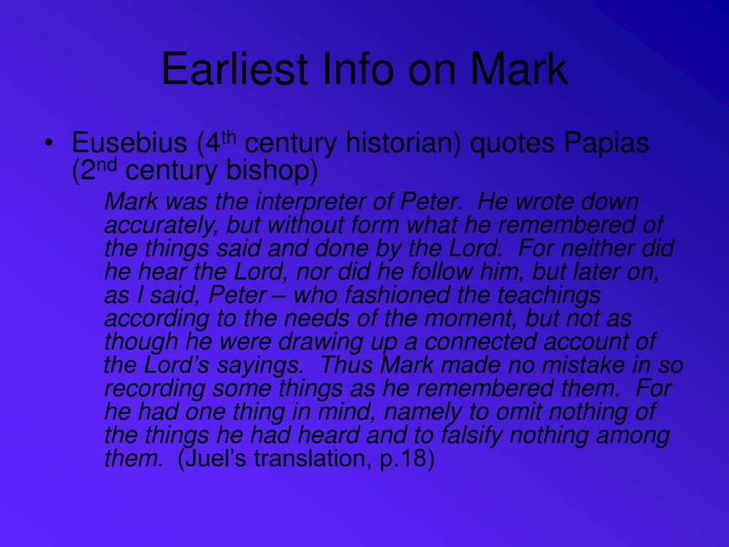 Earliest Info on Mark