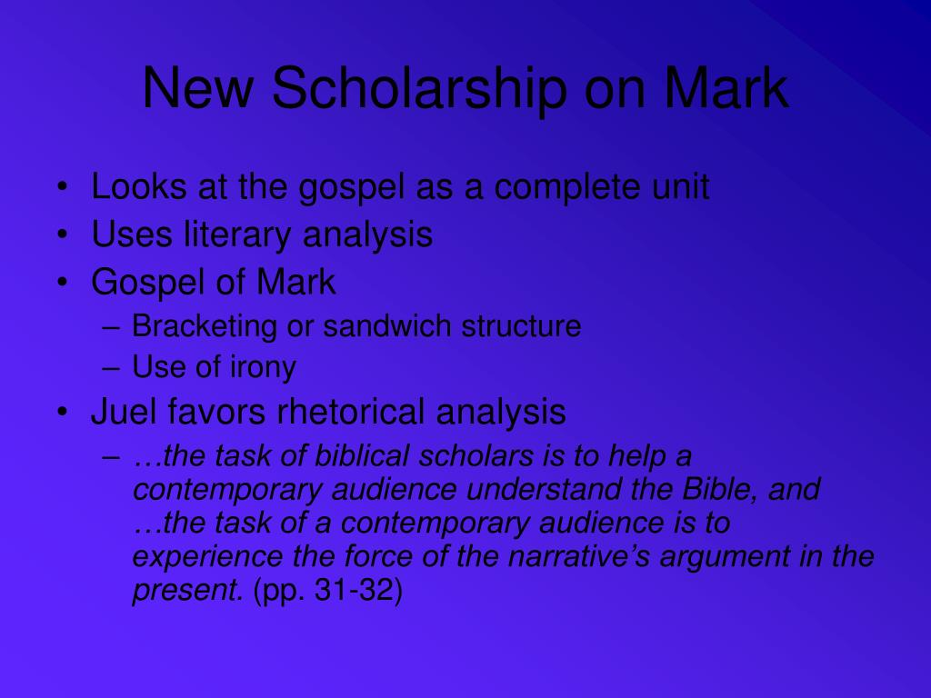 New Scholarship on Mark
