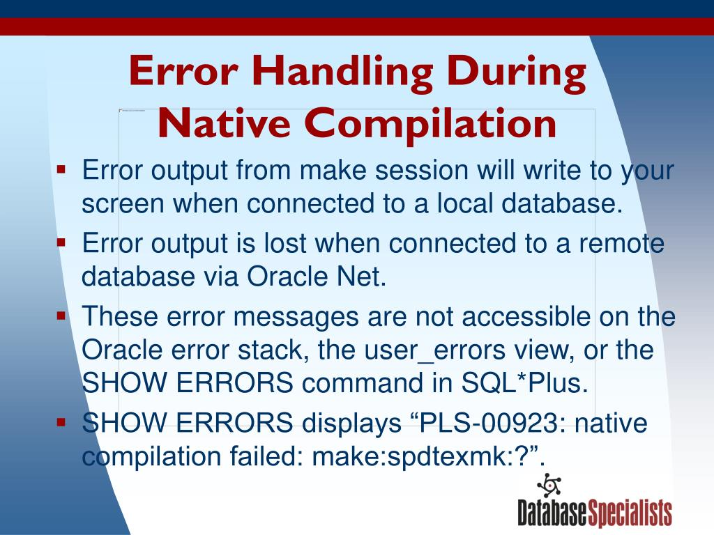 Error Handling During