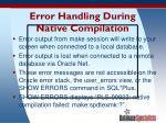 error handling during native compilation