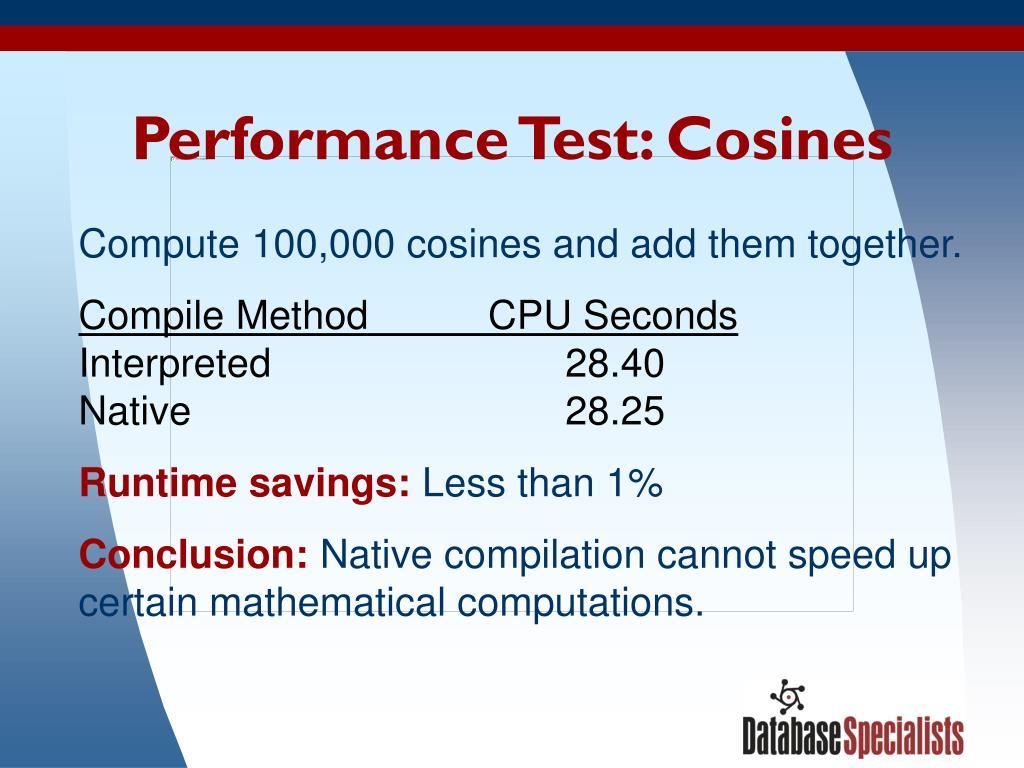 Performance Test: Cosines
